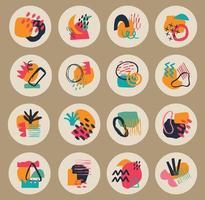 grande conjunto de várias capas de destaque geométrico do vetor. fundos abstratos. várias formas, linhas, manchas, pontos, objetos de doodle. modelos desenhados à mão. ícones redondos para histórias de mídia social vetor