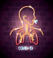 coronavírus de luz neon com corpo com pulmões vetor