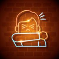 ícone de luz de néon coronavírus com homem tossindo vetor