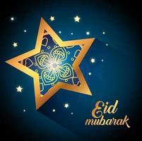 pôster eid mubarak com estrela e decoração