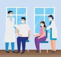 médicos vacinando pessoas no consultório vetor