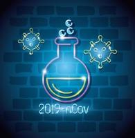 ícone de luz de néon coronavírus com tubo de ensaio vetor