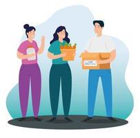 jovens com caridade e caixa de doações vetor