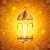 Pôster eid mubarak com decoração de lanterna
