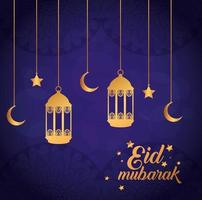 Pôster eid mubarak com lanternas e decoração pendurada vetor