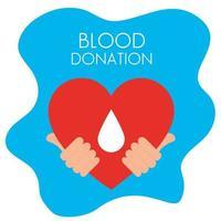 mãos com coração de doação de sangue vetor