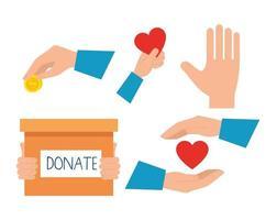 conjunto de ícones de caridade e doação vetor