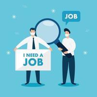 empresários com máscaras em busca de emprego