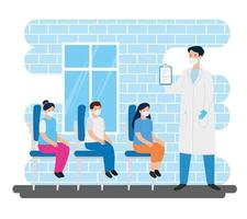 médico com crianças no consultório vetor