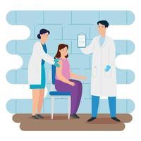 médico vacinando uma mulher no consultório vetor