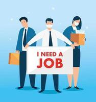 empresários com máscaras à procura de emprego