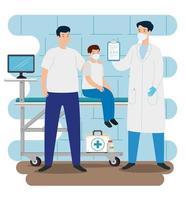 médico com família no consultório vetor