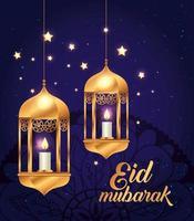 Pôster eid mubarak com lanternas penduradas e decoração vetor
