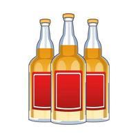 garrafas de tequila bebida mexicana ícone isolado vetor