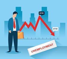 infográfico de empresário triste e desempregado