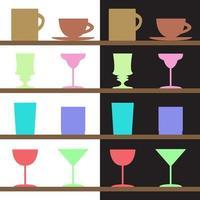 conjunto de taças, copos, silhuetas de vidro vetor