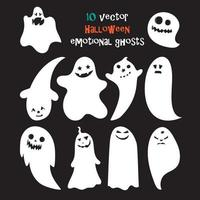 conjunto de fantasmas emocionais de halloween vetor