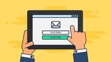 modelo da web de formulário de e-mail para tablet vetor