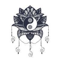vintage yin e yang em lótus