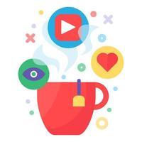 assistindo vídeo com ícone do conceito de bebida quente