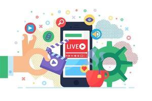 ilustração do conceito de transmissão ao vivo móvel
