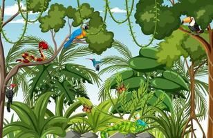 cena da floresta com muitas árvores e animais selvagens vetor