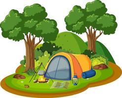cena de acampamento isolada no fundo branco vetor
