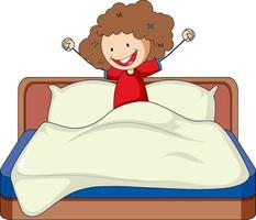 menina acabou de acordar na cama personagem de desenho animado vetor