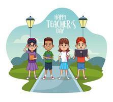 cartão feliz dia dos professores com alunos na rua vetor