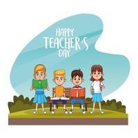 cartão de feliz dia dos professores com alunos no campo vetor