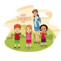 cartão de feliz dia dos professores com professor e alunos no campo vetor