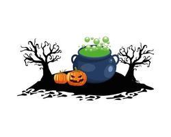 abóboras de halloween com desenho vetorial de caldeirão de bruxa vetor