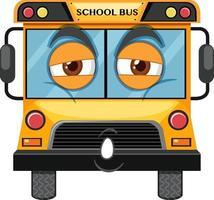 personagem de desenho animado de ônibus escolar com expressão facial em fundo branco vetor