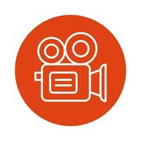 ícone de estilo de bloco de câmera de vídeo vetor