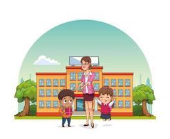 cartão feliz dia dos professores com professor e alunos fora da escola vetor