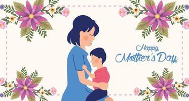 linda mãe com filho e cartão de dia das mães com moldura floral vetor