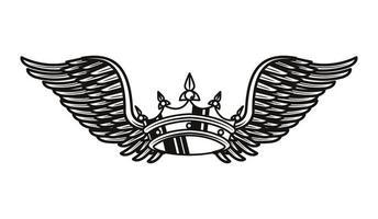 coroa real com asas, ícone de tatuagem vetor