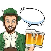alemão vestindo terno tirolês com cervejas vetor