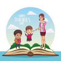 cartão de feliz dia dos professores com professor e alunos no livro vetor
