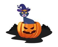gato de halloween com chapéu em desenho vetorial de desenho animado de abóbora vetor