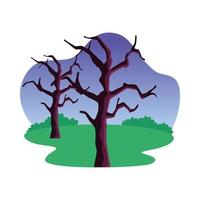 desenho vetorial de árvores nuas e arbustos vetor