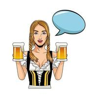 mulher alemã sexy com personagem de cerveja vetor
