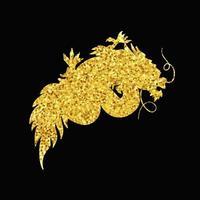dragão de ouro chinês vetor