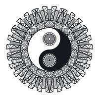 Yin e yang vintage na mandala