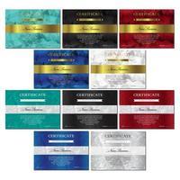 conjunto de modelos de certificado e diploma