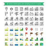paisagens e ícones de acampamento vetor