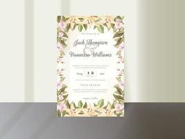 elegante design floral de convite de casamento vetor