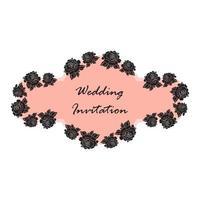 mão desenhada casamento rosa banner