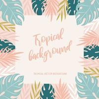 fundo tropical com folhas verdes e rosa vetor