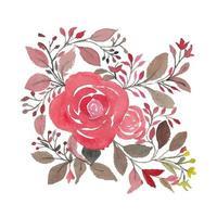 folhas e galhos de rosas rosas em aquarela criativa vetor